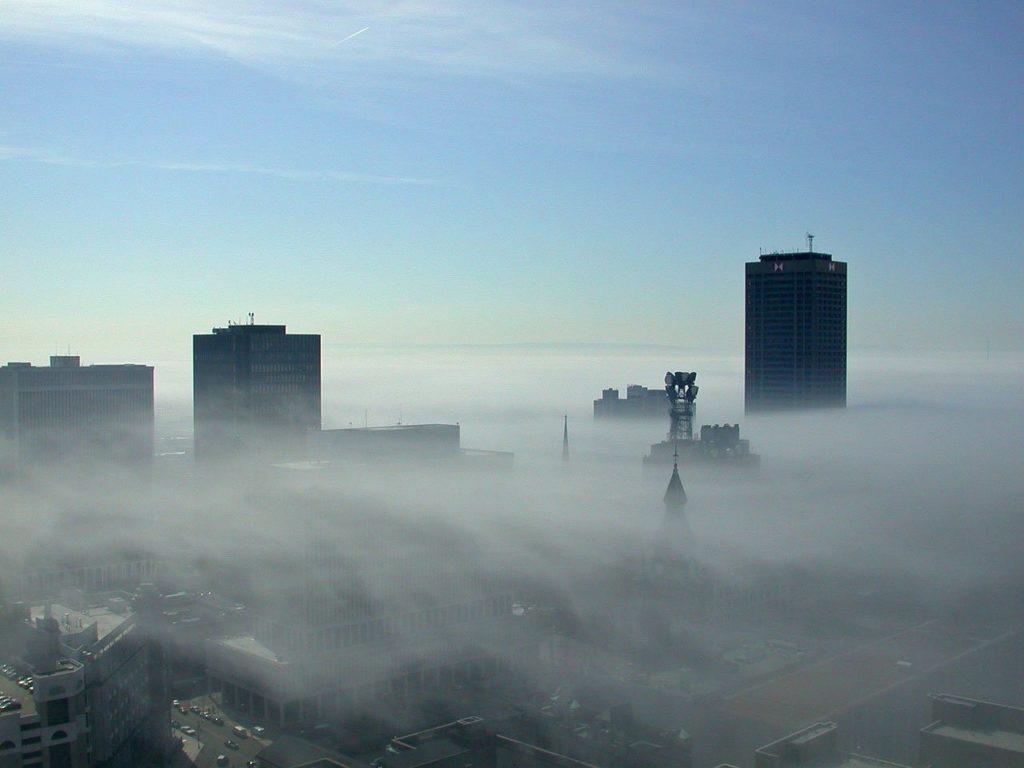 fog, mist, city